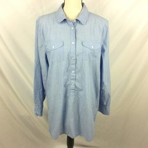 J Crew Belted Beach Tunic Top Chambray Popover